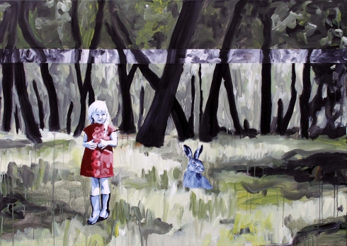 The girl and the hare were not quite sure where the sound came from