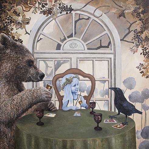 """""""Kortene på Hånden"""" - 150 x 150 cm"""