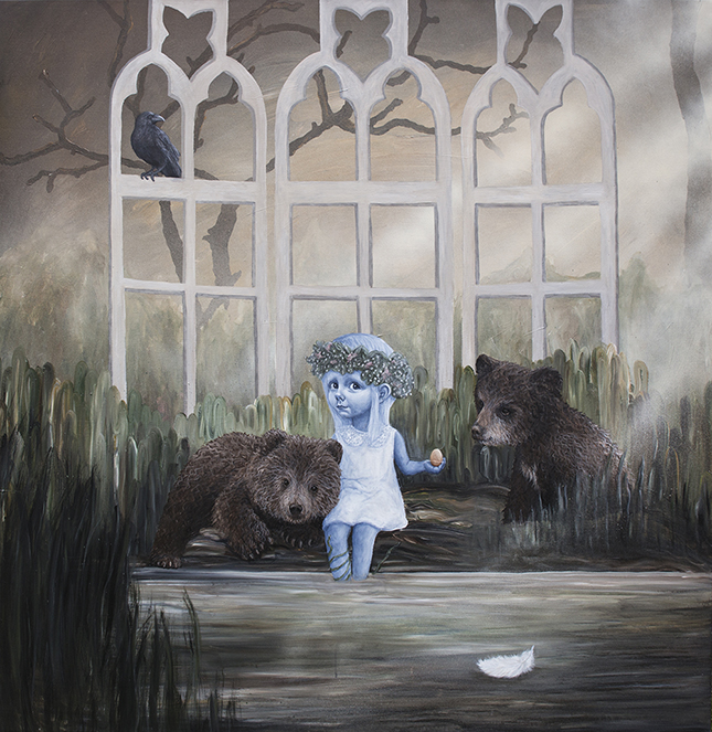 """""""Ophav"""" - Anne Juul Christophersen - akryl på lærred - 160 x 160 cm."""