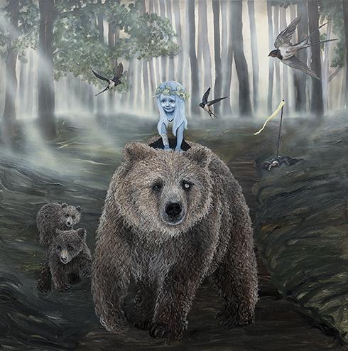 """""""Bittersød Sejr"""" - akryl på lærred - Anne Juul Christophersen - 150 x 150 cm"""