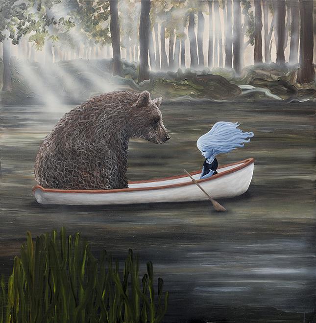 """""""På dybt vand"""", akryl på lærred - Anne Juul Christophersen - 150 x 150 cm"""