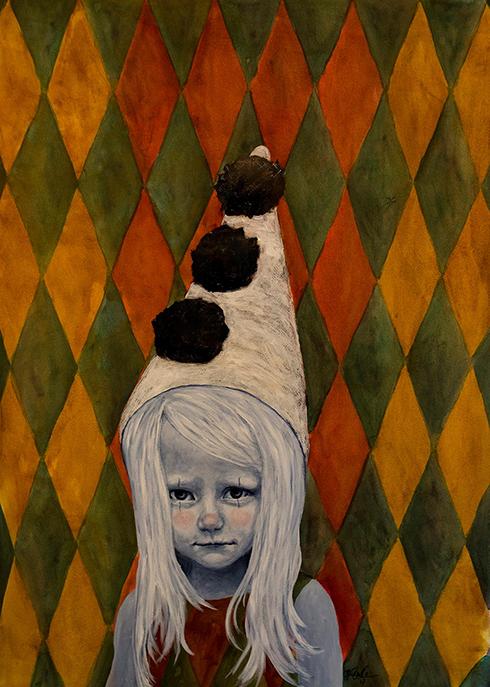 """""""Cirque de la vie - Entré på eget ansvar IV"""" Acrylics on paper 100 x 70 cm"""