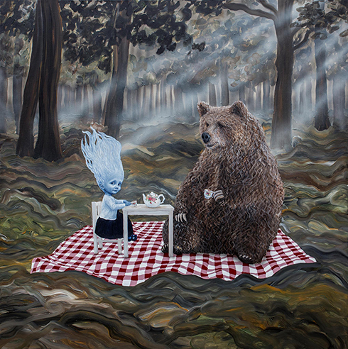 """Teatime"" Acrylics on canvas 150 x 150 cm"