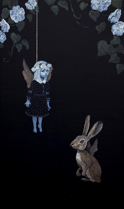 """""""Når du holder op med at være bange for at falde - kan du flyve"""" Akryl på lærred 130 x 80 cm"""