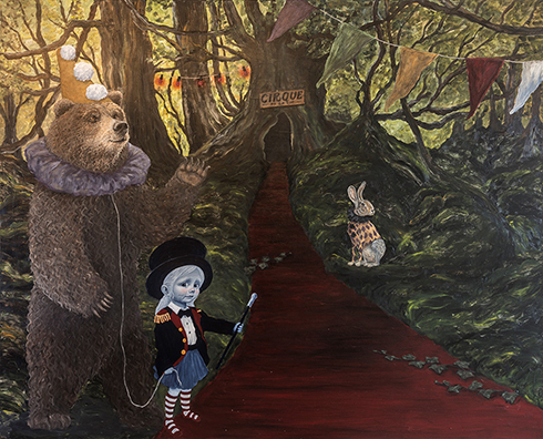 """""""Cirque de la vie - entré på eget ansvar"""" Acrylics on canvas 150 x 200cm"""