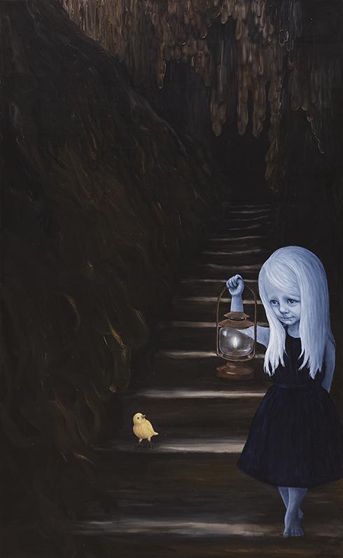 """""""Drøm dybere - sagde fuglen - så længe jeg trækker vejret er alt godt"""" Akryl på lærred 130 x 80 cm"""