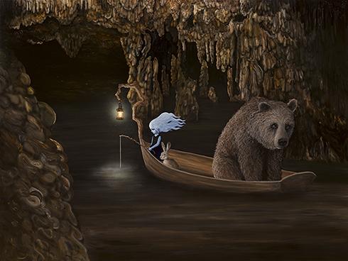 """""""Drømmefisker"""" Acrylics on canvas 150 x 200cm"""