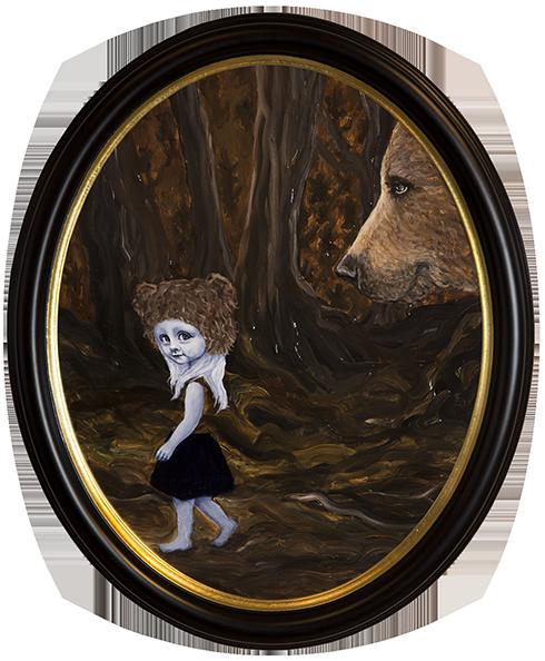 """""""Når du drømmer er alt muligt I"""" Akryl på lærred ca. 60 x 50 cm ovalt indrammet"""