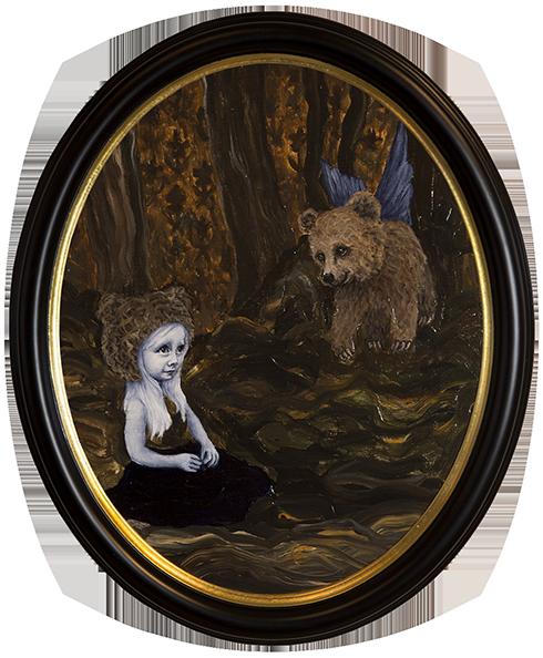 """""""Når du drømmer er alt muligt II"""" Akryl på lærred ca. 60 x 50 cm ovalt indrammet"""
