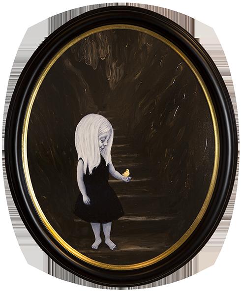 """""""Når du drømmer er alt muligt III"""" Akryl på lærred ca. 60 x 50 cm ovalt indrammet"""