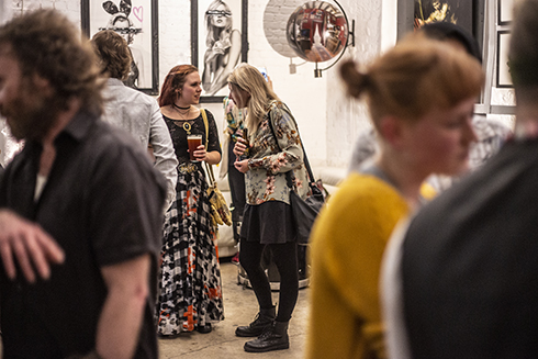 "Natalia Joruk from Beautiful Bizarre Magazine and I talking at the opening of ""The Underdog Masters""."
