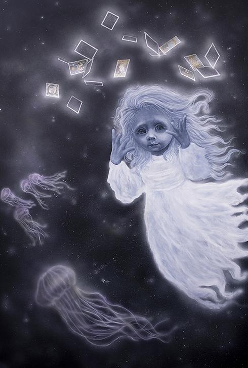 """You swim in a sea of fortune""Akryl på lærred150 x 100 cm"