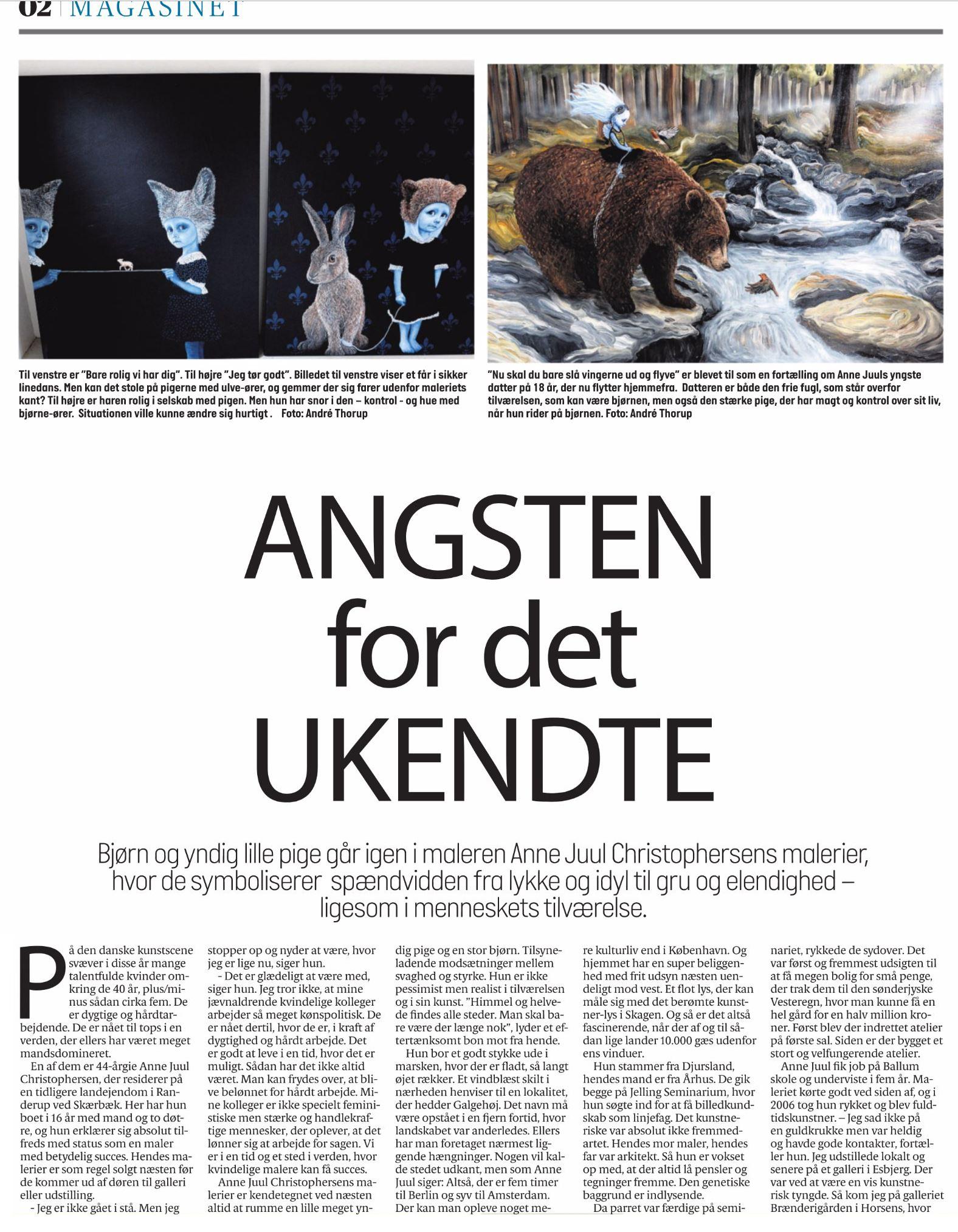 Angsten for det ukendte - Søndagsmagasinet Jydske Vestkysten den 21. maj 2017