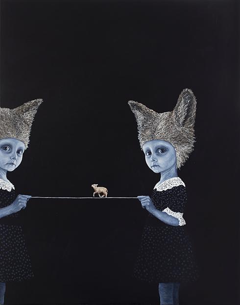 """Bare rolig, vi har dig"" Acrylics on canvas 150x 120cm"