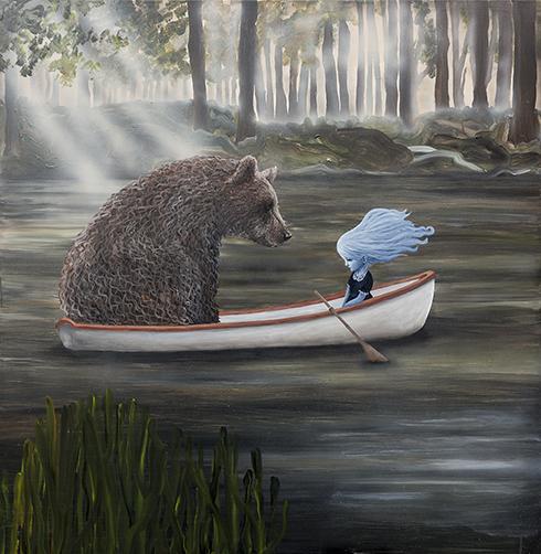 """""""På Dybt Vand"""" - akryl på lærred - Anne Juul Christophersen - 150 x 150 cm"""