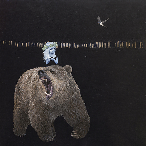 """""""Hvis en bjørn brøler om natten, kan man så høre det?"""" Acrylics on canvas 150 x 150 cm sold"""