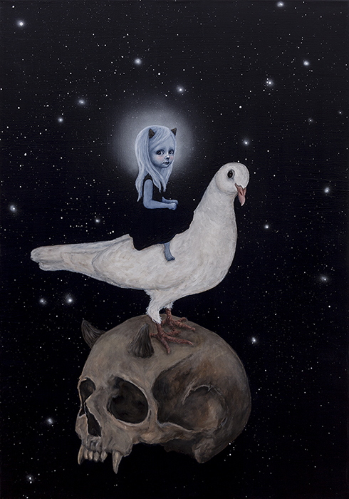 """""""Drømmen om et mareridt II"""" Akryl på lærred 100 x 70cm"""