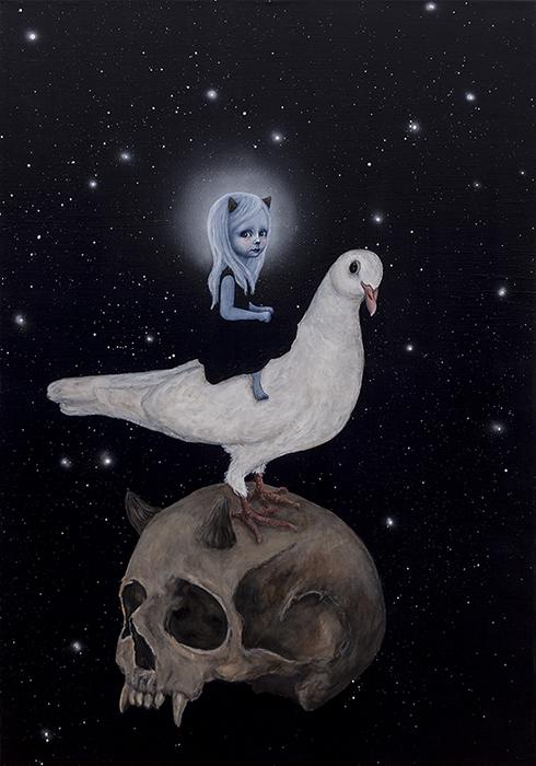"""Drømmen om et mareridt II"" Acrylics on canvas 100 x 70cm sold"