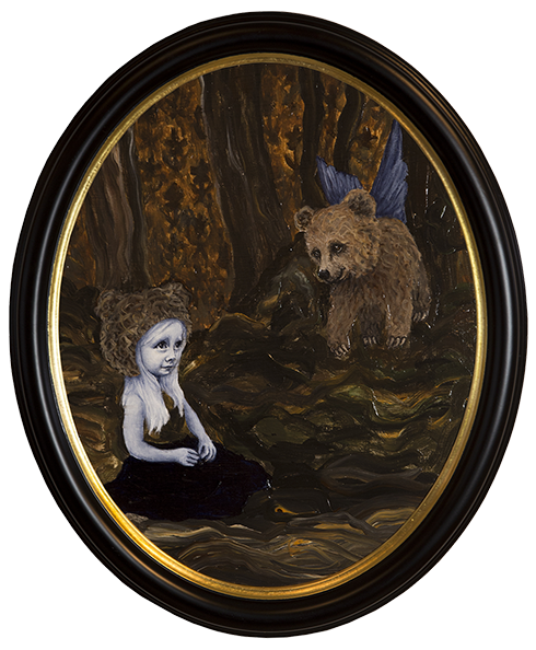 """""""Når du drømmer er alt muligt II"""" Acrylics on canvas approx. 60 x 50 cm oval framed"""