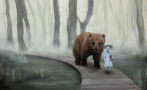 """Vi krydser én bro ad gangen"" Acrylics on canvas 80 x 130 cm"